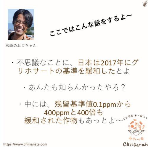 グリホサート残留基準値が緩和された日本の説明画像
